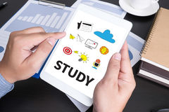 STUDY Student Studying Hard and Students Studying Learning Educa Royalty Free Stock Photography