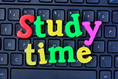 Study time words on computer keyboard stock photography