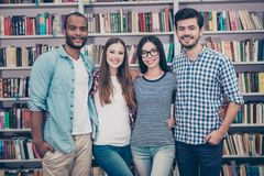 Study together is fun, teamwork,teambuilding concept. Four happy stock photo