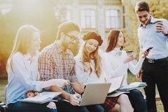 Study Together. Good Mood. Laptop. Knowledge royalty free stock photography