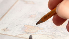 Study and travel text. Thomas Jefferys map 1775. stock footage