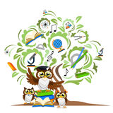 Study the tree and cheerful owls Stock Images