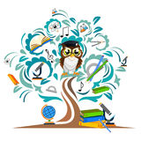 Study the tree and cheerful owls Royalty Free Stock Image