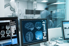 Study, visualization and practice with the human brain in x-ray Stock Photography