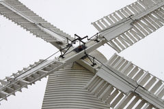 A Study of a white windmill Stock Image