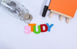 Colourful study word with white background