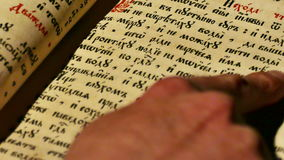 Study of the wisdom of old books stock footage