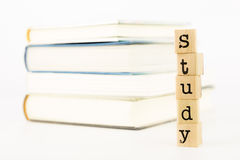 Study wording and books. Closeup study wording, learning and education concept and idea Stock Photography