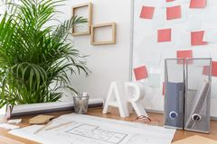 Study and working area. Picture of modern style study and working area royalty free stock photo
