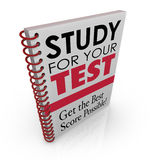 Study for Your Test Book Cover Title Best Grade Score Quiz Exam. Study for Your Test and Get the Best Score Possible words as the title and subtitle on a book Stock Photography