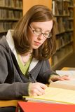 Studying. A young woman studies in the library Stock Image