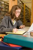 Studying. A young woman studies in the library Royalty Free Stock Image