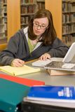 Studying. A young woman studies in the library Royalty Free Stock Photos