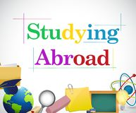 Studying abroad education icons Royalty Free Stock Photography