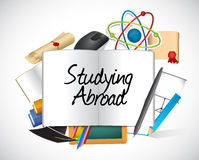 Studying abroad education icons Royalty Free Stock Photo