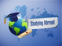 Studying abroad globe sign world map illustration Royalty Free Stock Image