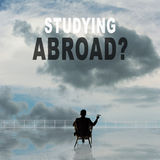 Studying Abroad?. Text on the sky Stock Photos