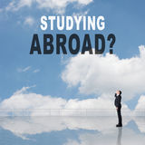 Studying Abroad?. Text on the sky Royalty Free Stock Photos