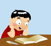 Studying Boy. A young boy who seems reading an interesting book Vector Illustration