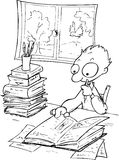 Studying boy-bw illustration Royalty Free Stock Images