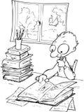 Studying boy-bw illustration royalty free stock images