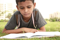 Studying. Boy reading book in the garden Royalty Free Stock Images