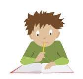 Studying boy. Student reading. Thinking schoolboy. Studying boy. Funny reading student. Flat cartoon vector of thinking schoolboy Royalty Free Stock Images