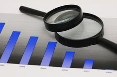 Studying business opportunities - magnifying glasses over the ba Royalty Free Stock Image