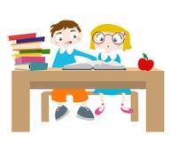 Studying cartoon characters Stock Photo