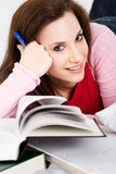Studying caucasian college student Royalty Free Stock Images