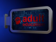 Studying concept: Adult Education and Head With Gears on billboard background. Studying concept: Adult Education and Head With Gears on advertising billboard Royalty Free Stock Images