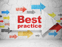 Studying concept: arrow with Best Practice on grunge wall background Stock Images