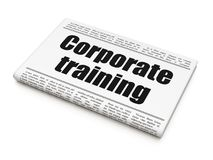 Studying concept: newspaper headline Corporate Training. On White background, 3D rendering stock photography
