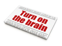 Studying concept: newspaper headline Turn On The Brain. On White background, 3D rendering Royalty Free Stock Image