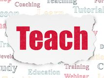 Studying concept: Teach on Torn Paper background. Studying concept: Painted red text Teach on Torn Paper background with  Tag Cloud Royalty Free Stock Images
