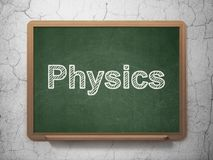 Studying concept: Physics on chalkboard background. Studying concept: text Physics on Green chalkboard on grunge wall background, 3D rendering Royalty Free Stock Photos
