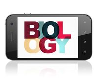 Studying concept: Smartphone with Biology on  display Stock Photo