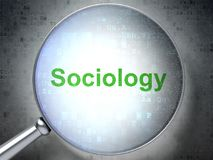 Studying concept: Sociology with optical glass. Studying concept: magnifying optical glass with words Sociology on digital background, 3D rendering Stock Photography