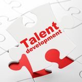 Studying concept: Talent Development on puzzle background. Studying concept: Talent Development on White puzzle pieces background, 3D rendering Royalty Free Stock Image
