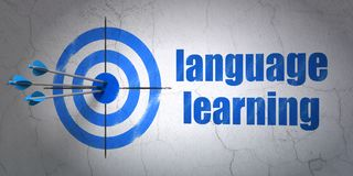 Studying concept: target and Language Learning on wall background. Success Studying concept: arrows hitting the center of target, Blue Language Learning on wall Royalty Free Stock Photography