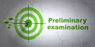 Studying concept: target and Preliminary Examination on wall background Royalty Free Stock Photos