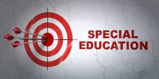 Studying concept: target and Special Education on wall background Stock Photos