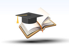 Studying for a degree. Illustration of a book with book mark and above it an academic cap or mortar board, worn at graduation, white background vector illustration