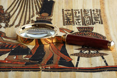 Studying of the Egyptian papyrus Royalty Free Stock Photos