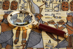 Studying of the Egyptian papyrus Royalty Free Stock Photography