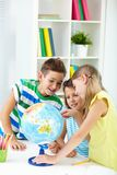 Studying geography Stock Image