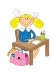 Studying girl. Illustration of nice studying girl, isolated on white Stock Photo
