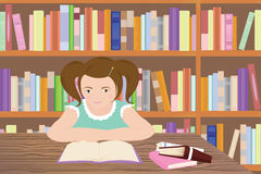 Studying girl. Vector illustration of a girl studying in a library Royalty Free Stock Images