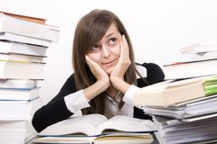 Studying girl Royalty Free Stock Images