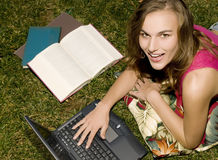 Studying in the Grass Royalty Free Stock Photos